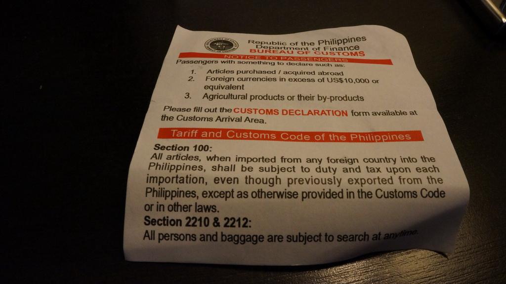 customs declaration form philippines pdf